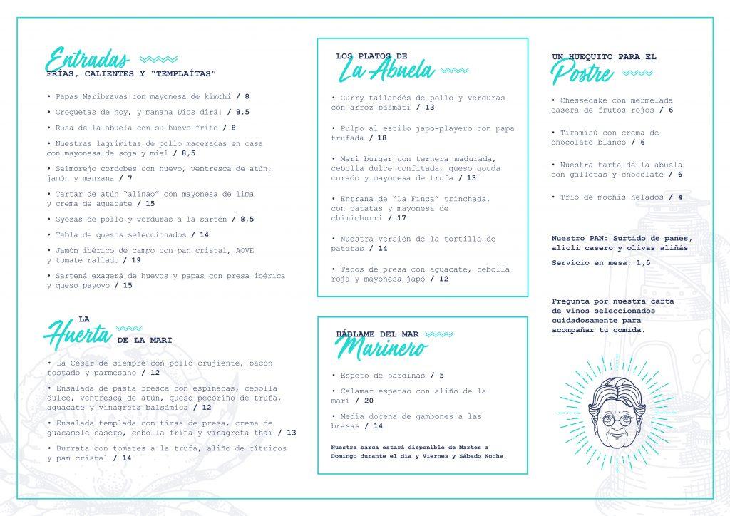Carta Chiringuito Maricarmen Casa Playa